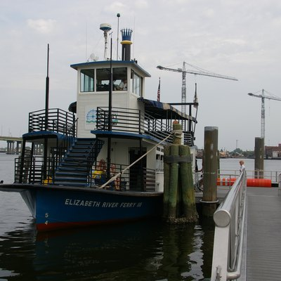 The Hampton Roads Transit Paddlewheel Ferry is a system of three 150-passenger paddle-wheel ferry boats, one of which is the world's first natural gas-powered pedestrian ferry. The Ferry travels between North Landing and High Street in Portsmouth and Downtown Norfolk at The Waterside.
