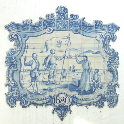 Tile panel depicting the foundation of Colonia del Sacramento. Portuguese Museum.