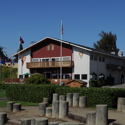 Sons of Norway building, Poulsbo, Washington, seen from the harbor side.