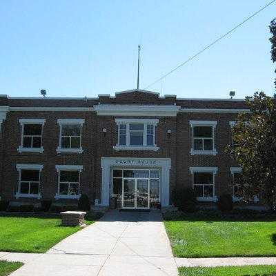 Front of the Power County Courthouse, located on Bannock Avenue in American Falls, Idaho, United States. Built in 1925, the courthouse is listed on the National Register of Historic Places.
