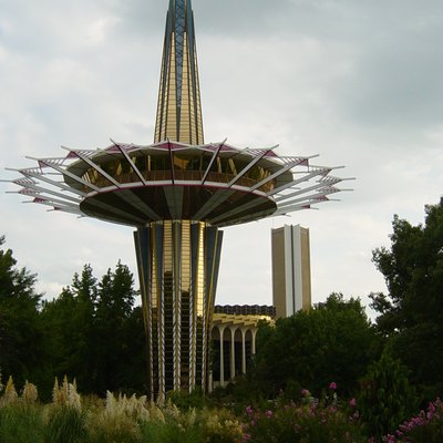 Photograph of the Prayer Tower on the campus of Oral Roberts Universityen in Tulsaen, Oklahomaen.