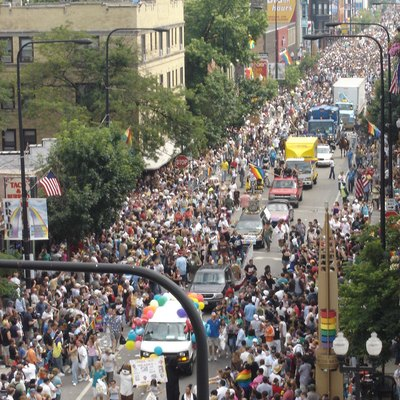 Chicago Pride 2006 from Halsted Street rooftop (photo taken by me)