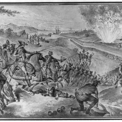 Wash drawing (reverse of printed versions) shows an explosion at a British magazine during the siege of Pensacola, killing or wounding many British soldiers. In the foreground, Spanish troops, possibly under the command of Bernardo de Gálvez, take advantage of the opportunity to attack and force the surrender of the British garrison.