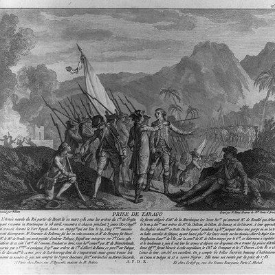 French attack on the British island of Tobago in 1781 with text. French painting from 1784.