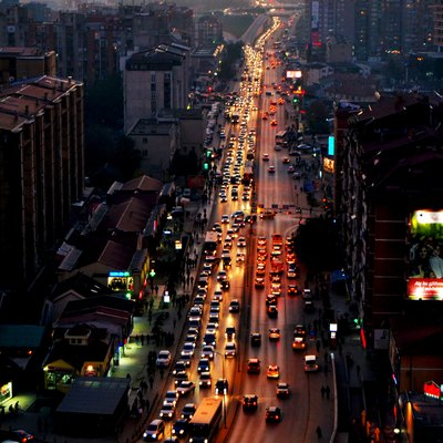 Pristina traffic in the evening.