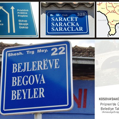 Road signs in Prizren, Kosovo. Official languages are: Albanian (top), Serbian (middle) and Turkish (bottom).