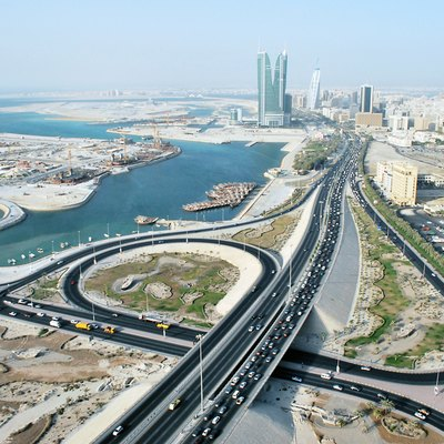 Skyline with roads, towers and harbour of Manama, Bahrain.