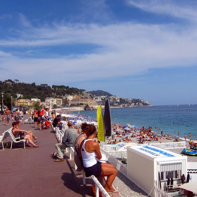 The Mediterranean beach and the Promenade des Anglais in Nice, France