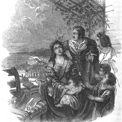 Queen Pomare and her Family on the Verandah of Mr. Pritchard's House, during the French Invasion of Tahiti (1847)