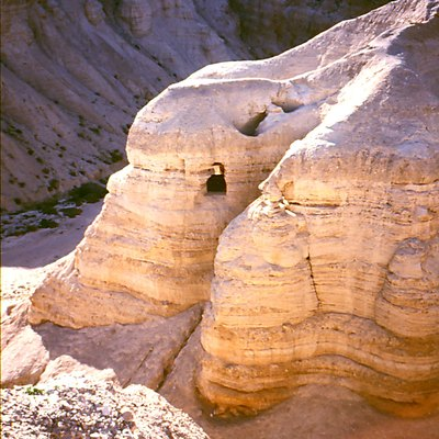 Caves at Qumran in the West Bank, Middle East. In this area the Dead Sea Scrolls were found.