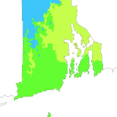 A map of Köppen climate types in Rhode Island