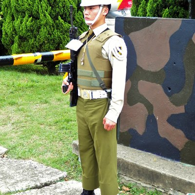 Republic Of China Military Police Is A Separate Branch In The Armed Forces. In The Picture, This Is A Military Policeman Standing Guard In Hsinchu Air Base.