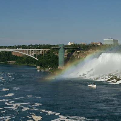 The appropriately named Rainbow Bridge at Niagara Falls.