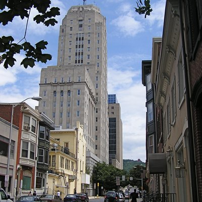 Downtown Reading, Pennsylvania; with Berks County courthouse on left; July 2007