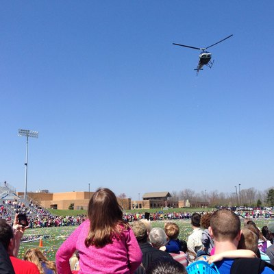Helicopter Easter Egg Drop at Springboro High School in Springboro, Ohio, hosted by Real Life Church