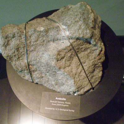 A chunk of Andesite thrown by the eruption of Mount Redoubt in 2009 and contributed by the U.S. Geological Survey is on display at the Anchorage Museum in late March 2011.