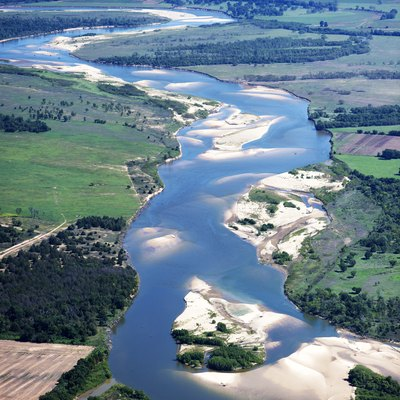 Aerial view of Red River — north of Bonham, Fannin County, northeast Texas - looking east.