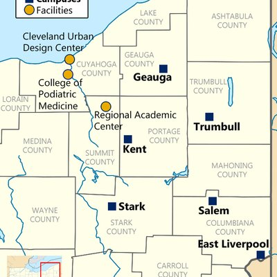Map showing campuses of and facilities of Kent State University in Northeast Ohio. Originally uploaded to English Wikipedia June 27, 2007; updated April 20, 2016.