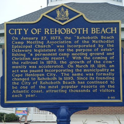 A Delaware historical marker showing the history Rehoboth Beach. This marker is located along Rehoboth Avenue near the boardwalk