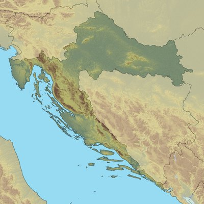 Topographic map of Croatia