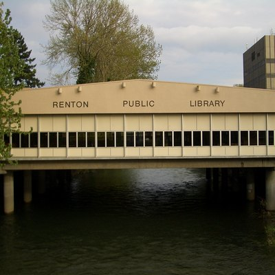 Renton Public Library straddles the Cedar River