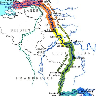 Sections And Major Affluents Of River Rhine, Relaunch: Delta Corrected, Most Names With Clearer Letters