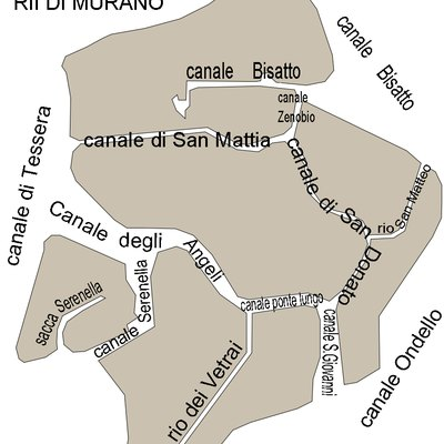 The eight channels separating the islands of Murano