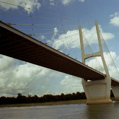 The Greenville Bridge is a cable-stayed bridge crossing the Mississippi River, that carries US 82 and US 278, between Lake Village, Arkansas and Greenville, Mississippi