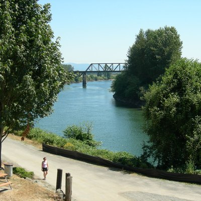 Snohomish River, seen from downtown Snohomish, Washington