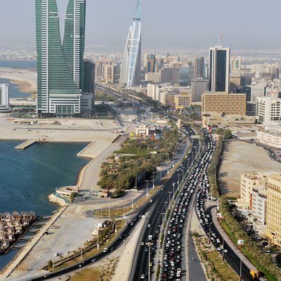 Road, towers and sea in Manama, Bahrain.