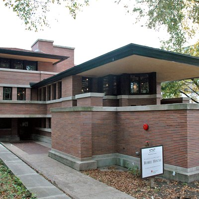 The Robie House, a National Historic Landmark designed by architect Frank Lloyd Wright in 1908.