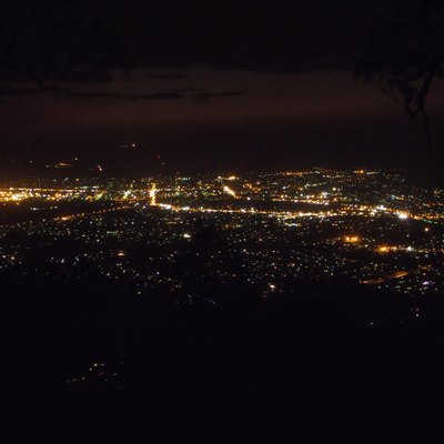 Rockhampton City at night, as viewed from Mount Archer