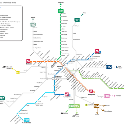 Metro Map, regional and urban railways in Rome in 2012
