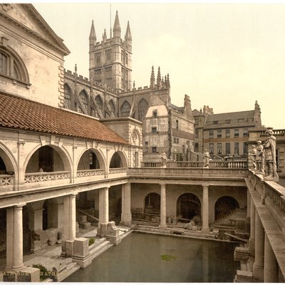 Photochrom Of The Roman Baths In Bath