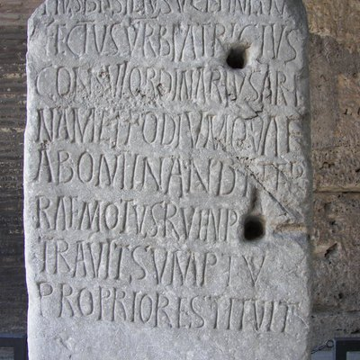 Inscription for 5th century Roman Consul Decius Marius Venantius Basilius in the Colosseum in Rome. CIL VI 1716 c, VI 32094 c.