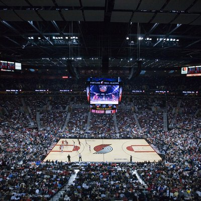 The Rose Garden Arena during a Blazers basketball game.
