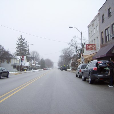 Along West Main Street (State Road 26) in downtown Rossville, a town in northwestern Clinton County, Indiana, United States.