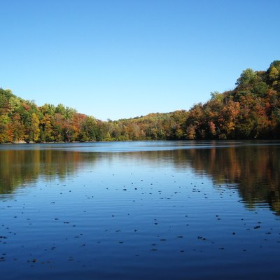 Round Lake, Green Lakes State Park, Fayetteville, New York. Looking NE down the spillway.
