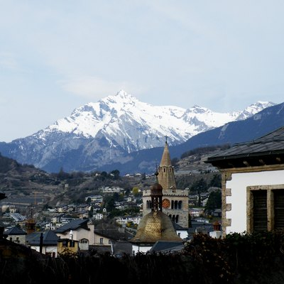 View towards the Haut de Cry mountain from Sion