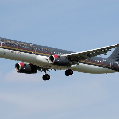 Royal Jordanian Airbus A321-200 (JY-AYG) landing at London Heathrow Airport.