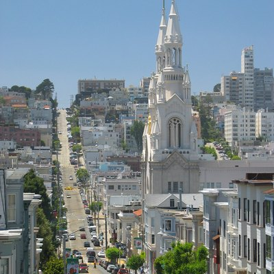 Looking down Filbert Street in North Beach, San Francisco. Saints Peter and Paul Church towers over the neighborhood.