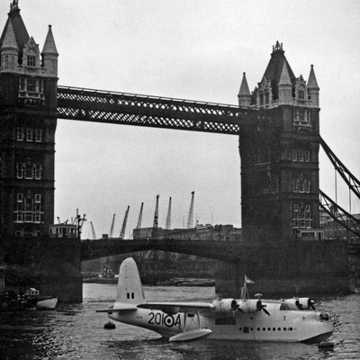 Short Sunderland V of 201 Squadron RAF moored at Tower Bridge London in 1956