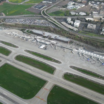 SJC aerial photo of Terminals A and B