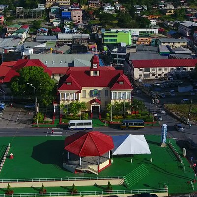 City hall, Harris Promenade, San Fernando, Trinidad and Tobago. Photo taken as part of the Southern Trinidad Aerial Photo Project, a small project sponsored by WMDE. Drone used: DJI Phantom 4. Snapshot taken from video footage via VLC, then cropped with Irfan View.
