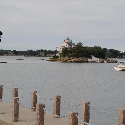 View Of One Of The Thimble Islands With A Contributing House On The Island. Picture Taken From Linden Point Road