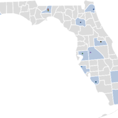 Map displaying the counties and locations of the 11 institutions of the State University System of Florida