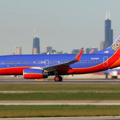 A Southwest Airlines Boeing 737-700 taxiing at Chicago Midway International Airport. Southwest is the dominant carrier at Midway, operating more than 225 daily flights out of 29 of Midway's 43 gates to over 45 destinations across the United States.