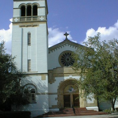 The Church of the Holy Cross at Saint Leo Abbey on Saint Leo University's campus in St. Leo, Florida.
