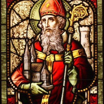 Saint Patrick stained glass window from Cathedral of Christ the Light, Oakland, CA.