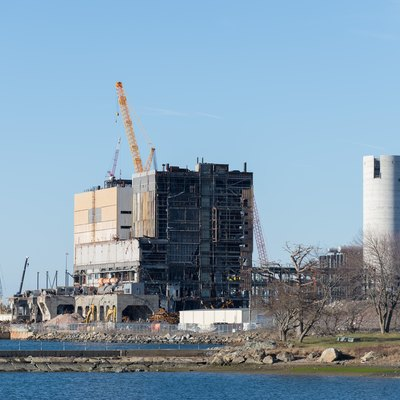New smokestack construction and demolition of old coal plant underway in Salem, Massachusetts